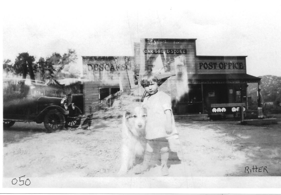 Stella Ritter Barrows in front of Perkins store, 1930
